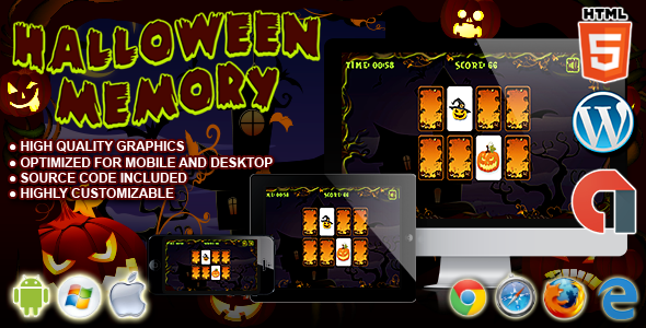 Download Halloween Memory - HTML5 Construct Game nulled download