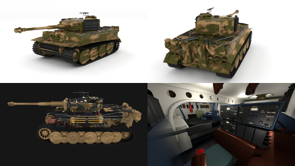 Panzer Tiger Tank Late 1944 v2 with interior - 3DOcean Item for Sale