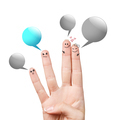 Finger smileys with colorful speech bubbles
