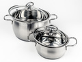 Two Metal stock pots with glass lid