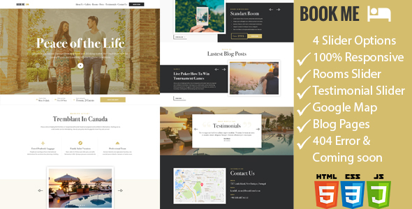 Book Me - One Page Hotel / Resort HTML Template