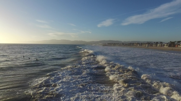 Download Ocean Waves Crashing. Marina Del Rey, California During Sunset nulled download