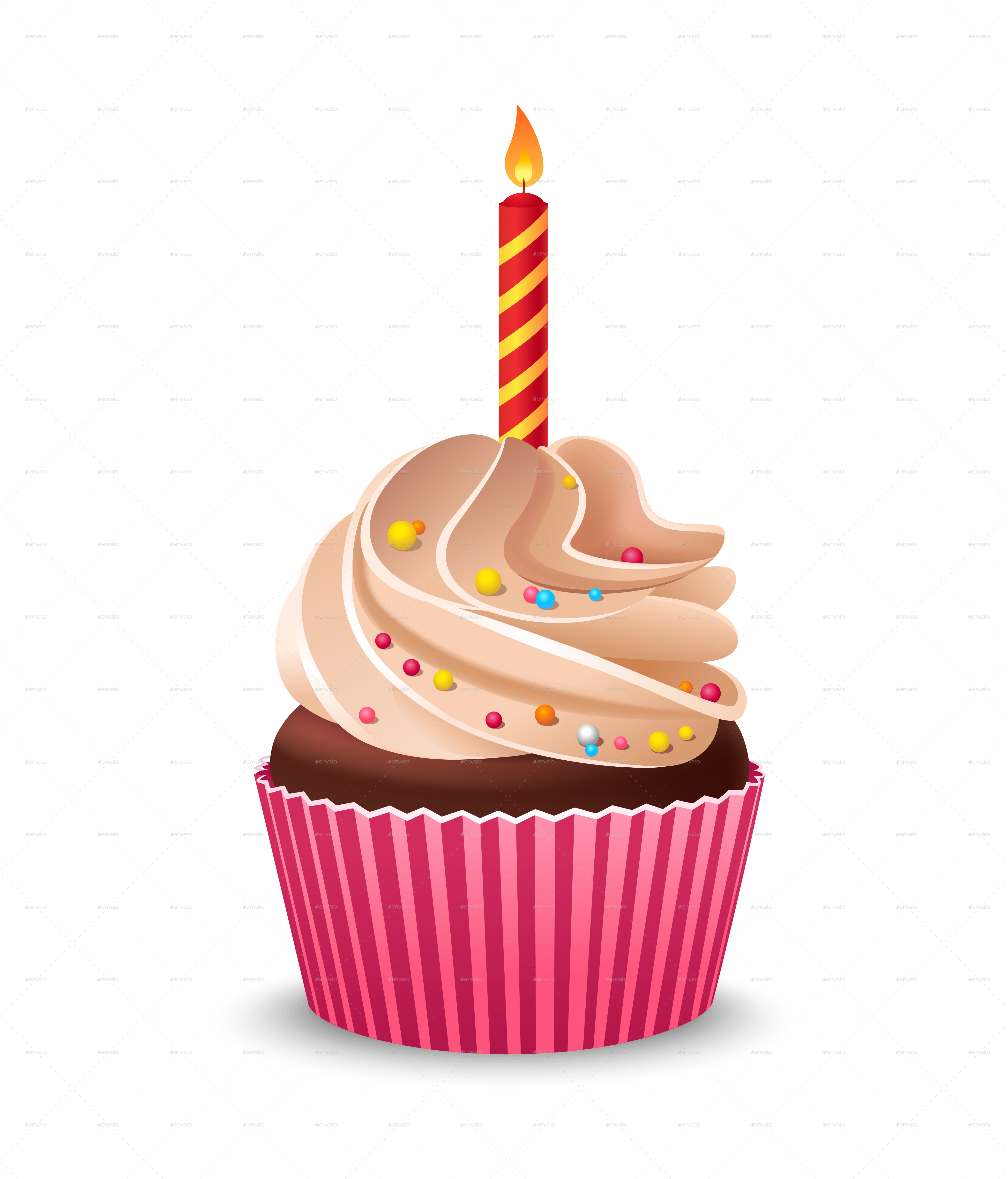 One Birthday Candle Clipart Birthday Cupcake with ...