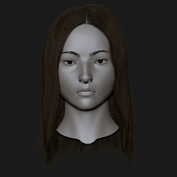 Realistic head cute asian girl - 3DOcean Item for Sale
