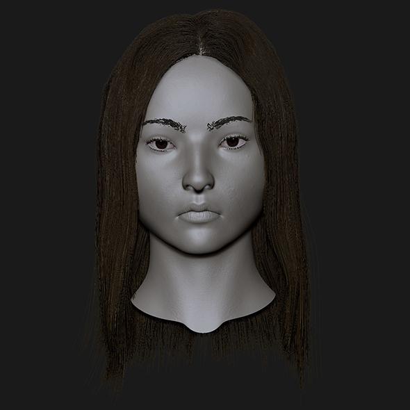Realistic head cute asian girl - 3DOcean Item for Sale