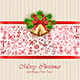 Christmas Pattern with Golden Bells on Knitted Background