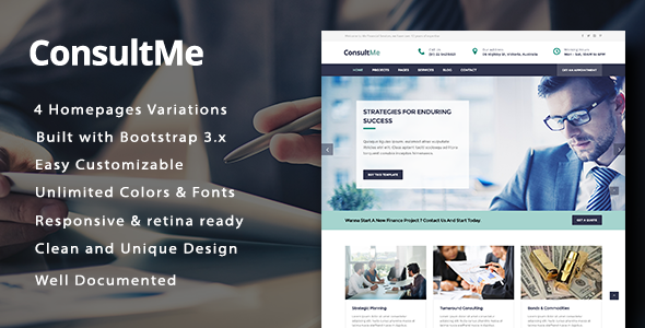 Download ConsultMe Responsive Business and Finance HTML5 Template