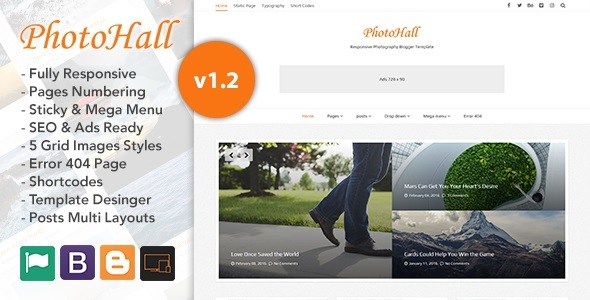 PhotoHall Responsive Photography Blogger Template