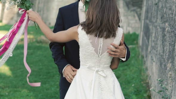 Download Young Wedding Couple Posing In Embracing Near The Castle. Slowly nulled download