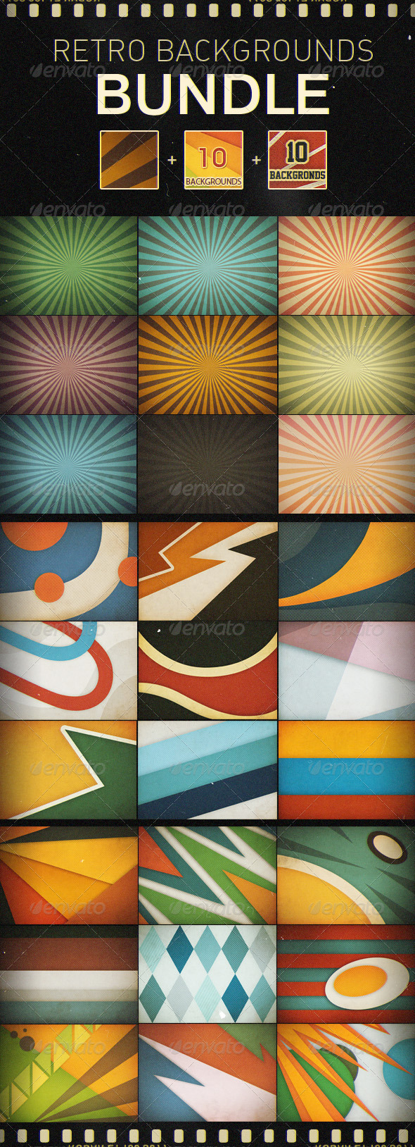 GraphicRiver Retro Backgrounds Bundle 1791151
