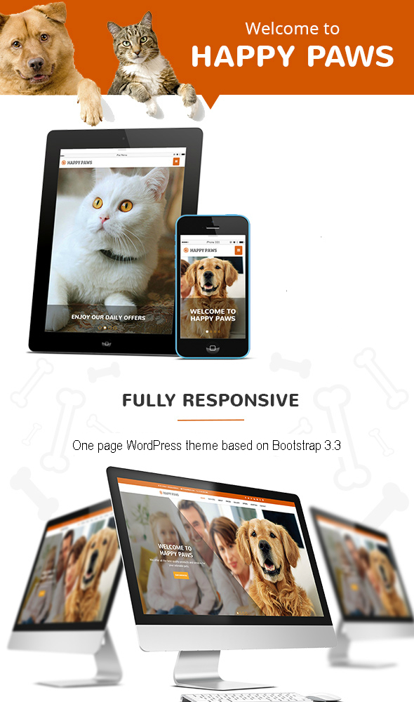 Happy Paws – One Page WordPress Theme (Business)