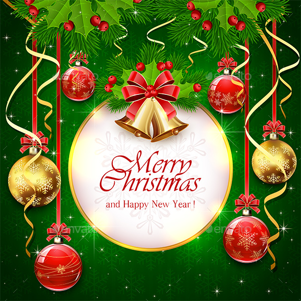 Green Background with Christmas Balls and Banner