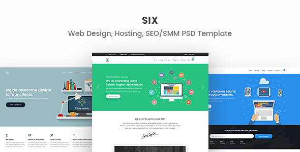 Six – Web Design, Hosting, SEO/SMM PSD Template