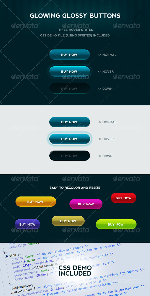GraphicRiver Glowing Glossy Buttons with CSS 69817