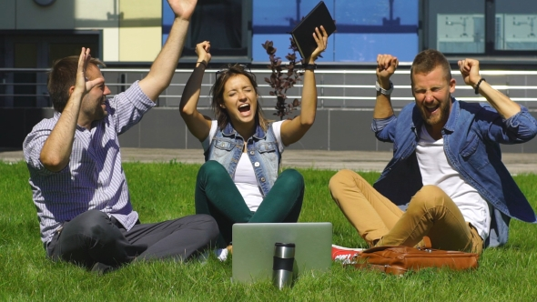Download Happy Students Sitting On The Lawn And Sing nulled download