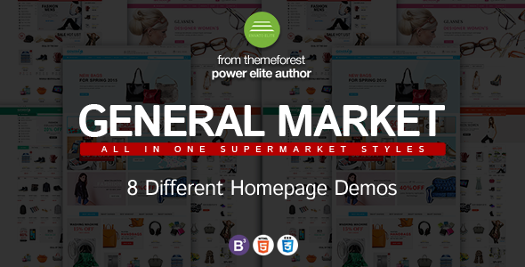 Dance General Market Store HTML Template with Bootstrap 3 and jQuery