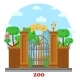 Zoo Entrance With Waterfall And Parrots On Tree