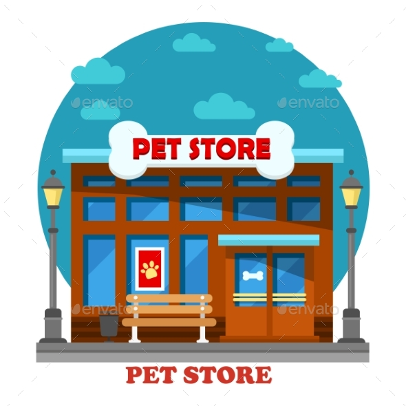 Pet Store And Shop For Animal Care Building