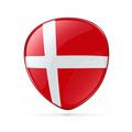 Danish Flag icon, isolated on white background.