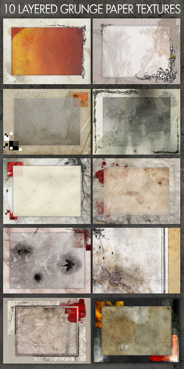 10 Layered Grunge Paper Textures/Background/Frames