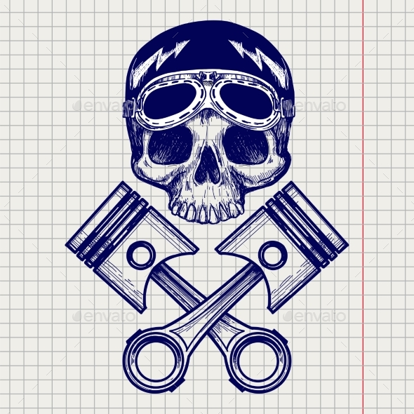 Sketch of Bike Rider Skull