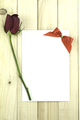 Valentine Red Rose, Valentine Greeting Card On Wood Background.