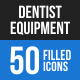 Dentist Equipment Blue & Black Icons