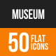 Museum Flat Round Icons