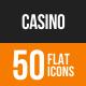 Casino Flat Round Icons