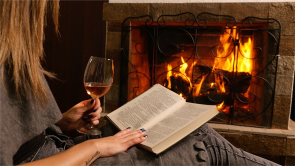 Download Reading a Book in Front of Fireplace nulled download