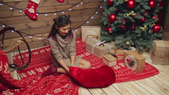 Download Girl Getting a French Bulldog Out Of Santa Bag nulled download
