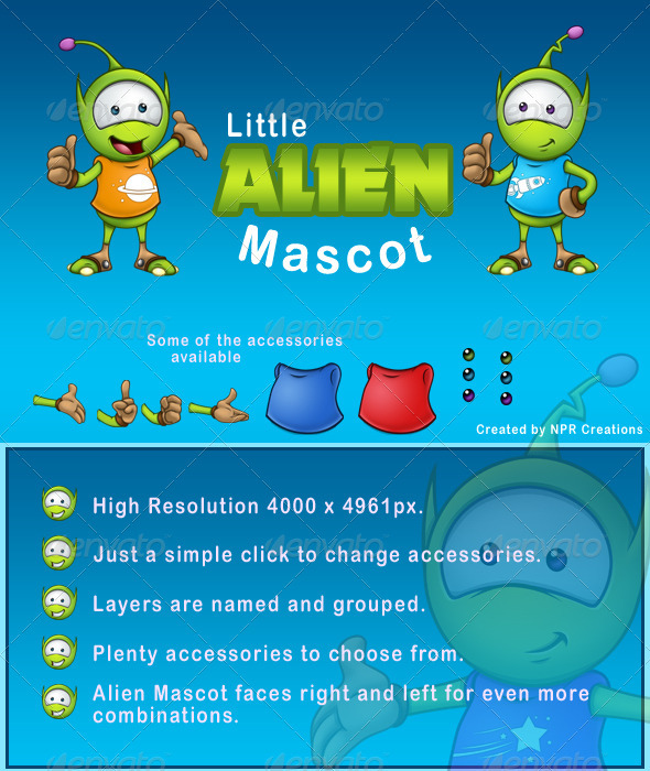 GraphicRiver Little Alien Mascot 1791331