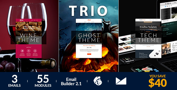 Trio Email Template + Online Emailbuilder 2.1
