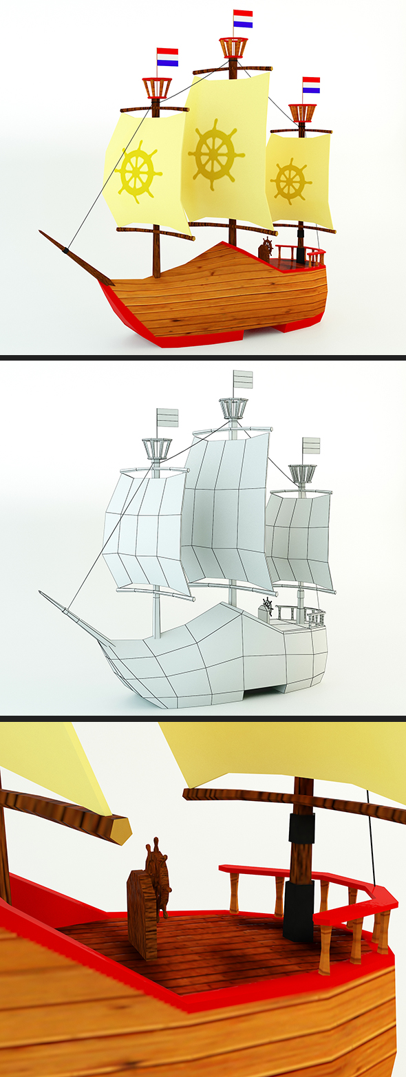 Low Poly Netherlands Boat - 3DOcean Item for Sale