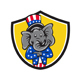 Republican Elephant Mascot Arms Crossed Shield Cartoon