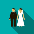 Bride and groom icon, flat style
