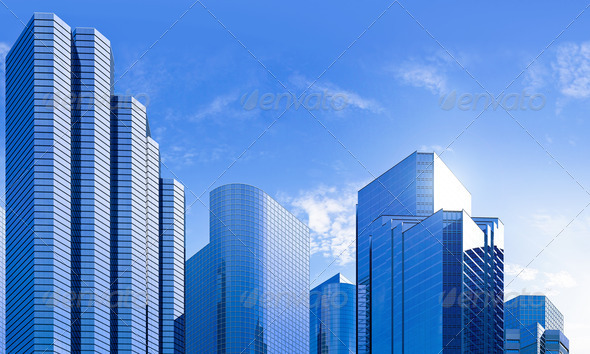 blue highrise glass skyscraper skyline - Stock Photo - Images