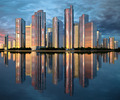 skyscraper skyline reflected on water - PhotoDune Item for Sale