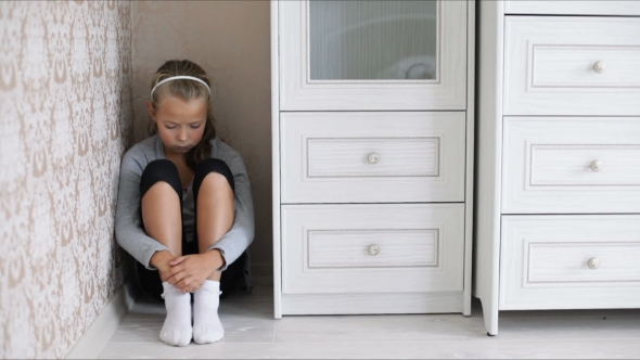 Download Little Sad Girl Sitting On The Floor nulled download