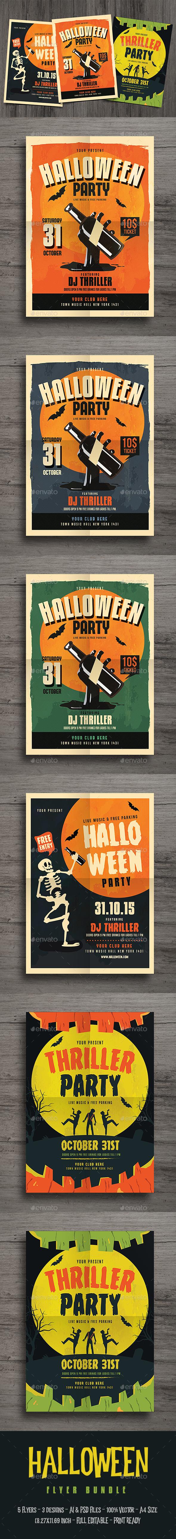 Old Halloween Event Flyer Bundle