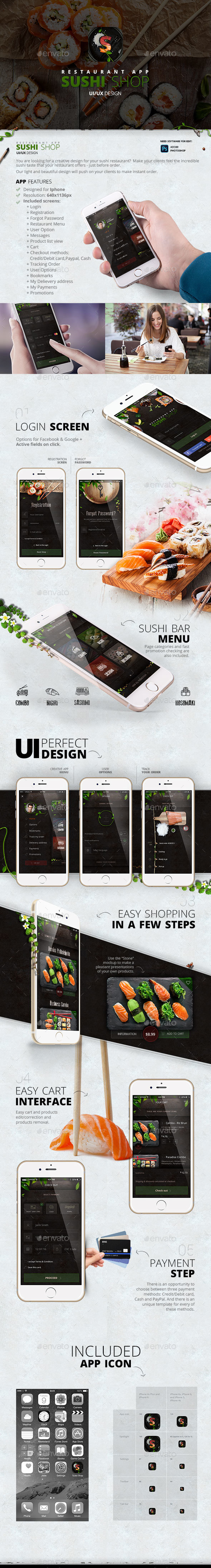 Sushi Shop Restaurant – App design (User Interfaces)