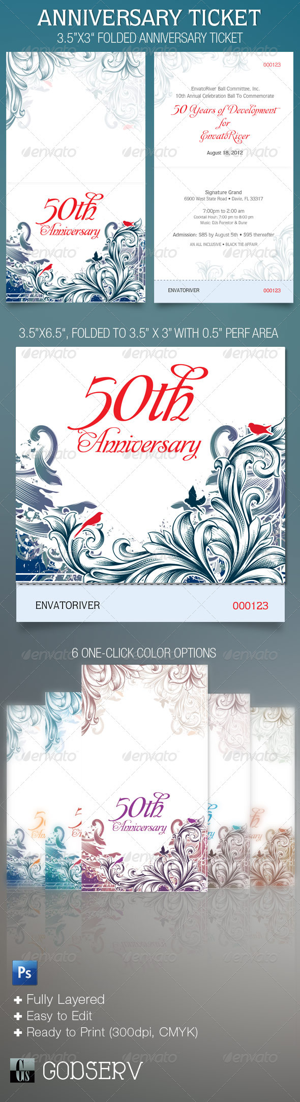 GraphicRiver Folded Anniversary Ticket Template 1791524