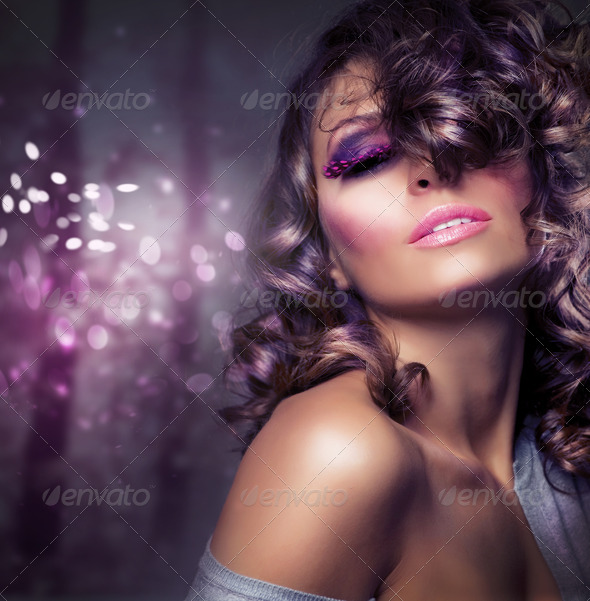 Fashion Beauty Portrait. Sexy Girl. Holiday Makeup - Stock Photo - Images