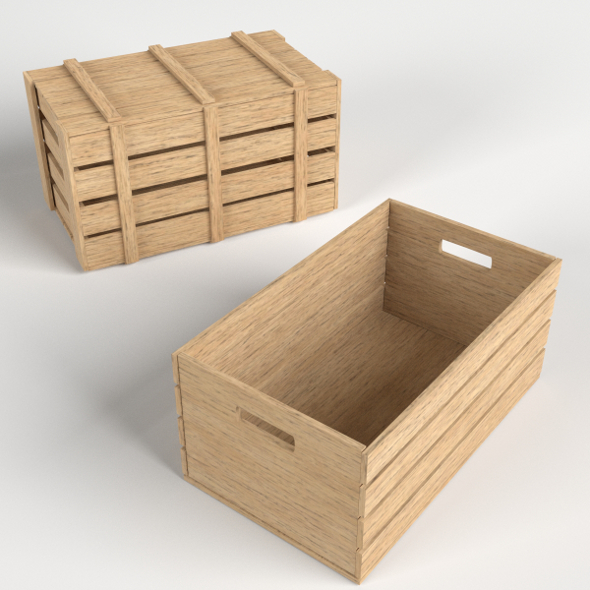 Wooden Crates (1 opened, 1 closed) - 3DOcean Item for Sale