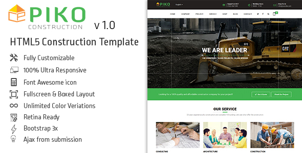 HTML5 Construction & Business Template - Pikocon