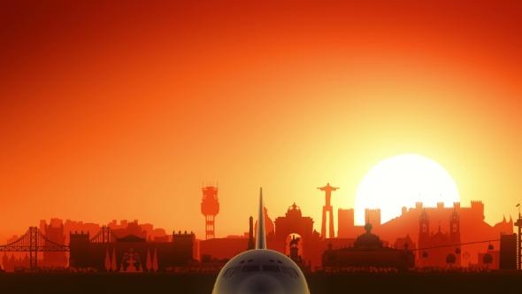 Download Lisbon Skyline Sunrise Take Off nulled download