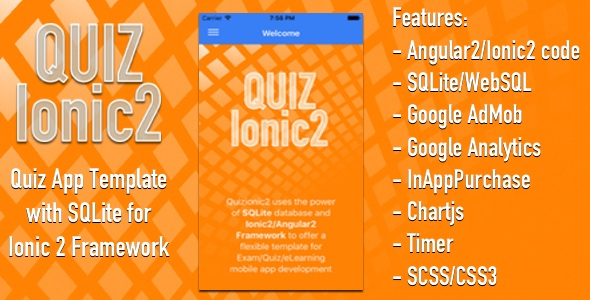 Quizionic2 - Ionic2 App template w SQLite, AdMob, In-App-Purchase