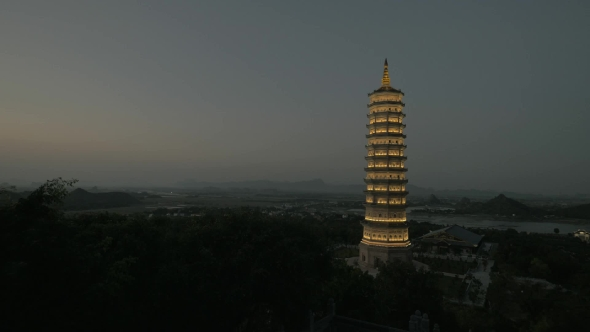 Download Bai Dinh Temple With Illuminated Tower At Night, Vietnam nulled download