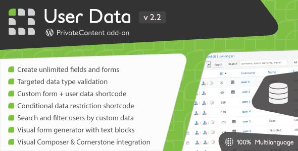 PrivateContent - User Data add-on