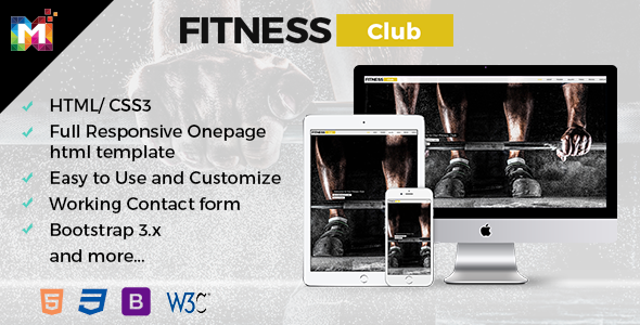 Fitness Responsive HTML Template